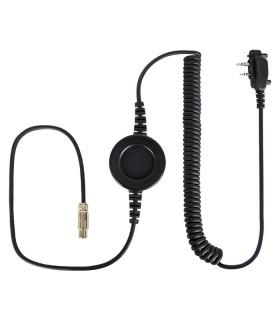 """Cable Komunica compatible con series NC-PRO, con PTT redondo """"In-Line"""" y conector para Icom ICF1000- 2 tornillos"""