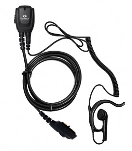 Micro-Earphone Komunica with coil cord and ergonomic ear-hanger, compatible series HYTERA PD-705