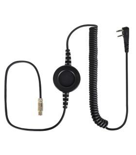 """Cable Komunica compatible con series NC-PRO, con PTT redondo """"In-Line"""" y conector para Kenwood (2 Pin)"""